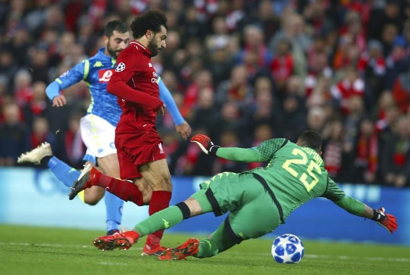 pada laga Grup C Liga Champions antara Liverpool melawan Napoli  di stadion Anfield, Liverpool, (12/12) dini hari.