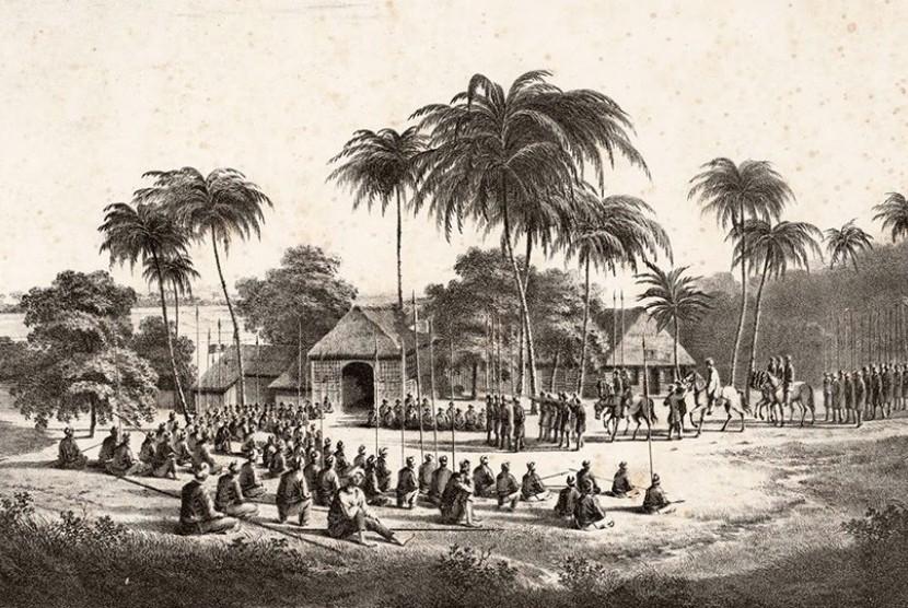 Pangeran Diponegoro naik kuda, mengenakan jubah dan surban, ketika beristirahat bersama pasukannya di bantaran sungai Progo, pada penghujung tahun 1830.