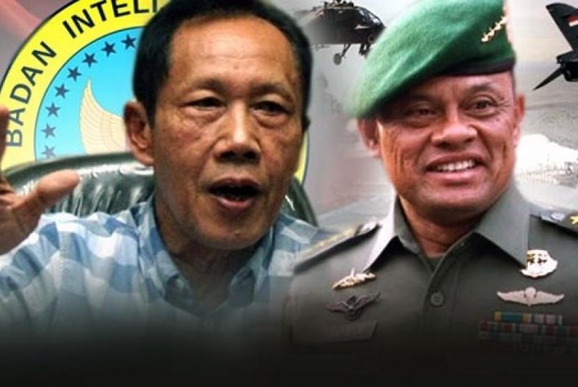 Panglima TNI Jenderal Gatot Nurmantyo dan Kepala BIN Sutiyoso.