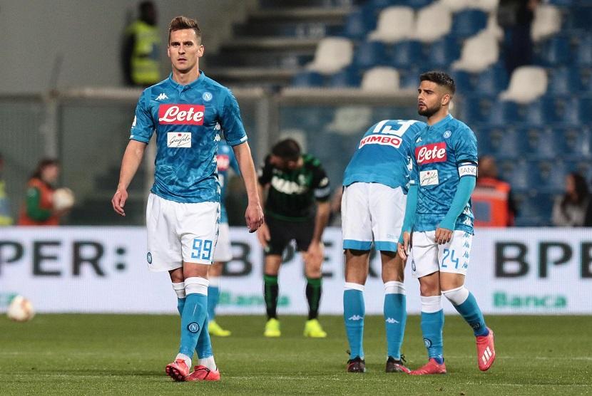Para pemain Napoli usai menjalani pertandingan.