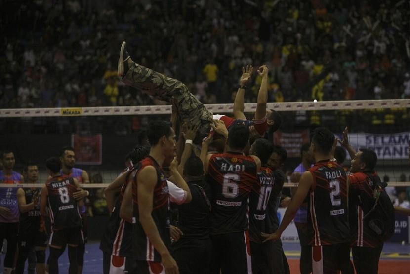 Para pemain tim voli putra Bhayangkara Samator yang mewakili Indonesia di turnamen Asian Peace Cup 2019. (ilustrasi)