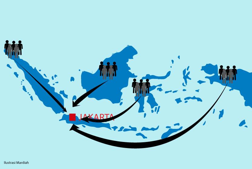 Para pendatang dari berbagai daerah menuju Jakarta (ilustrasi)