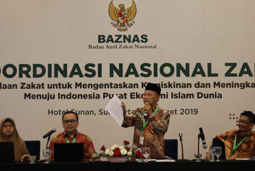 Para pimpinan Baznas dalam Rapat Koordinasi Nasional (Rakornas) Zakat 2019 di Surakarta, Jawa Tengah, Selasa (5/3) malam.