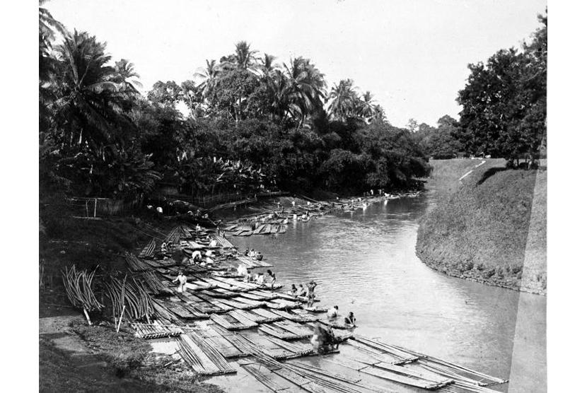 Getek-getek mengambang di Sungai Ciliwung