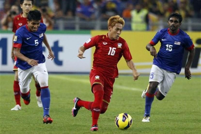 Partai Malaysia versus Thailand di Stadion Bukit Jalil, Malaysia, Ahad (9/12) yang berakhir imbang 1-1.