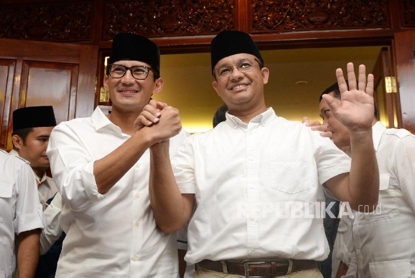 Pasangan Gubernur dan Wakil Gubernur DKI Jakarta terpilih, Anies Baswedan dan Sandiaga Uno