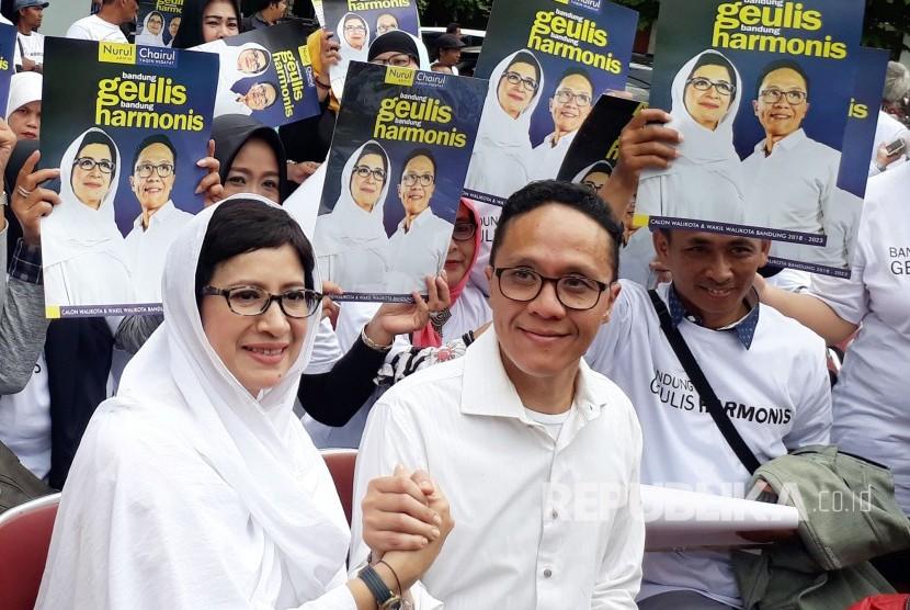 Pasangan Calon Wali Kota dan Wakil Wali Kota Bandung, Nurul Arifin dan Chairul Yaqin Hidayat.