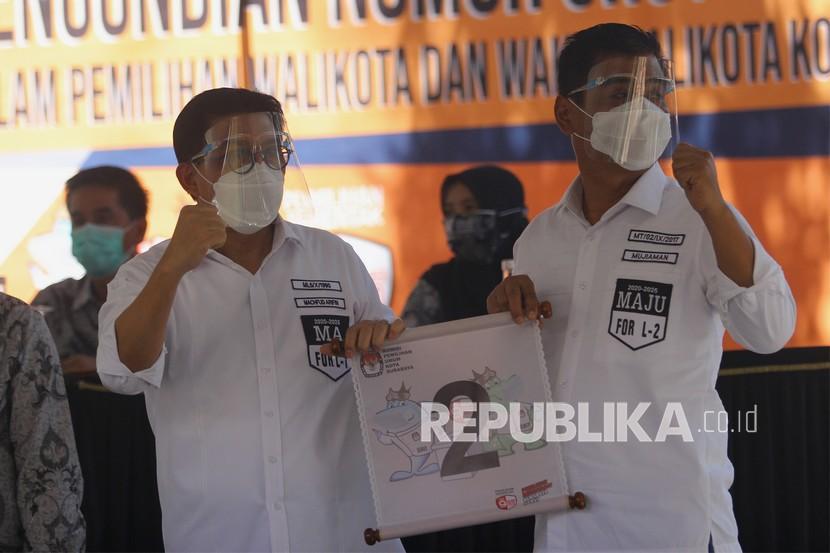 Pasangan calon Wali Kota dan Wakil Wali Kota Surabaya Machfud Arifin (kiri) dan Mujiaman (kanan).