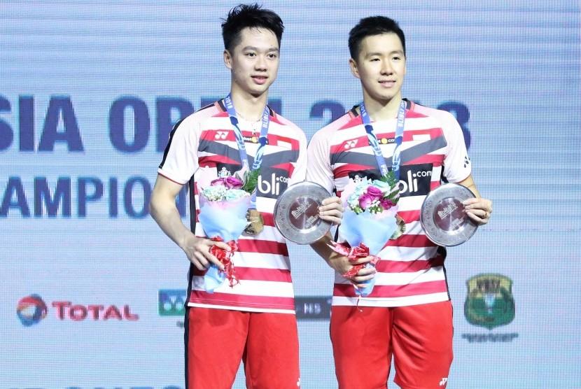Pasangan ganda putra Indonesia, Marcus Fernaldi Gideon/Kevin Sanjaya Sukamuljo menjuarai turnamen Indonesia Open 2018 Super 1000, Ahad (8/7).