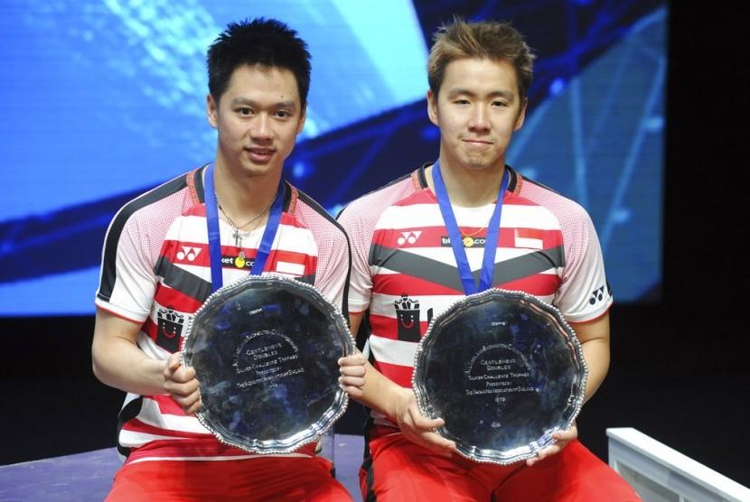 Pasangan ganda putra Indonesia, Marcus Gideon Fernaldi/Kevin Sanjaya Sukamulja menjadi juara di All England, Ahad (18/3).