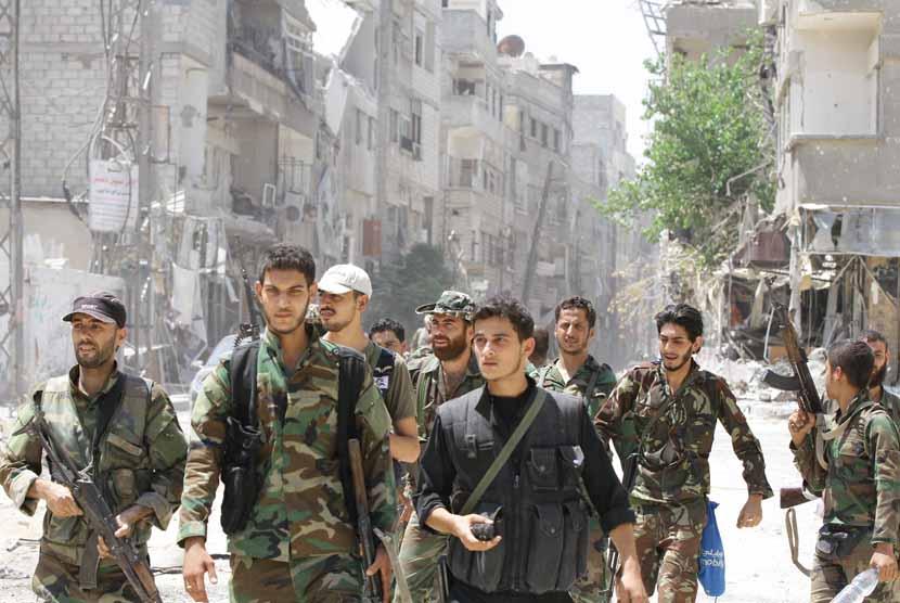 Pasukan Suriah melakukan patroli. (ilustrasi)