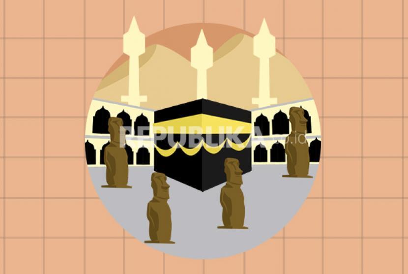 Kisah Nabi Nuh dan Sadarnya Penyembah Berhala. Foto:  Patung dan berhala di sekitar ka'bah sebelum Islam datang (ilustrasi)