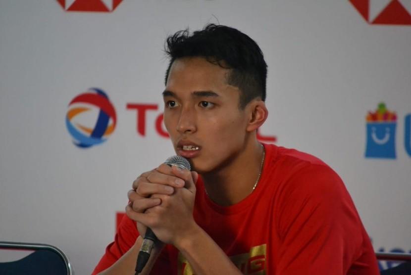 Pebulu tangkis tunggal putra Indonesia, Jonatan Christie di Istora Senayan, Jakarta, Kamis (18/7).