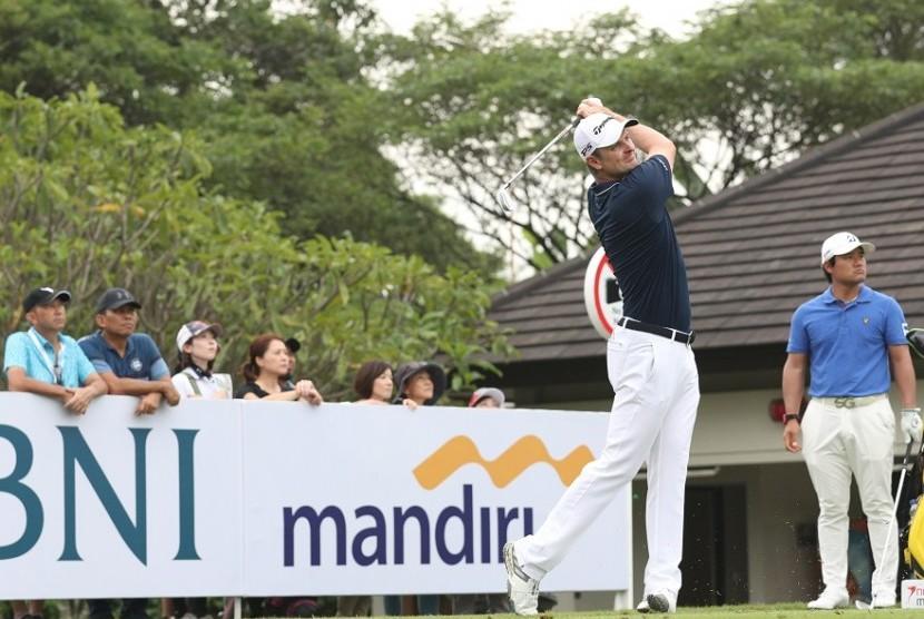 Pegolf Justin Rose tampil pada turnamen Indonesian Masters 2017.