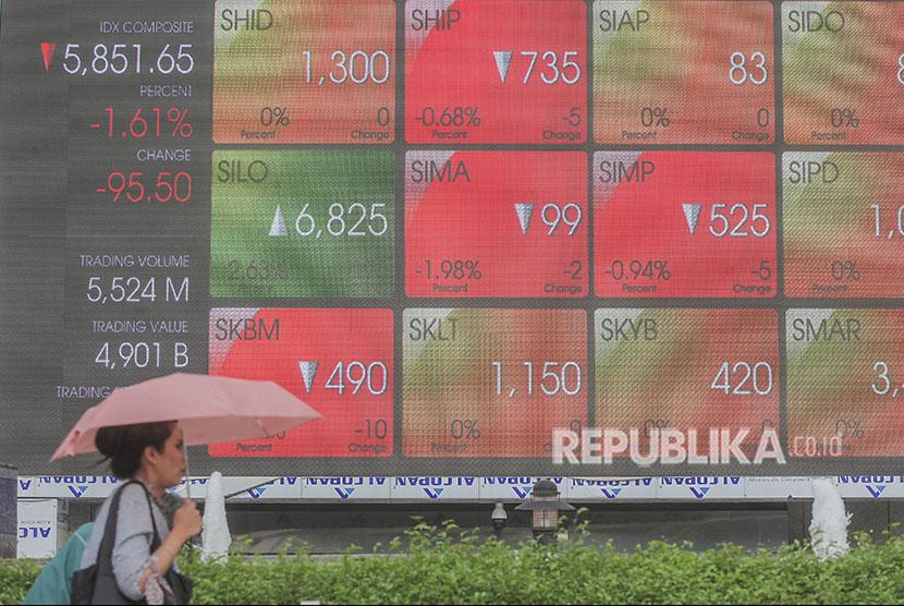 Pekerja melintas dengan latar belakang pergerakan Indeks harga saham gabungan (IHSG) di Jakarta, Selasa (15/5).