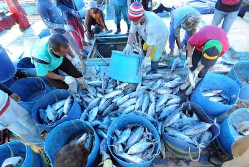 Pekerja membongkar muatan ikan-ikan hasil tangkapan nelayan di Pelabuhan Perikanan Samudera Nizam Zachman, Muara Baru, Jakarta.