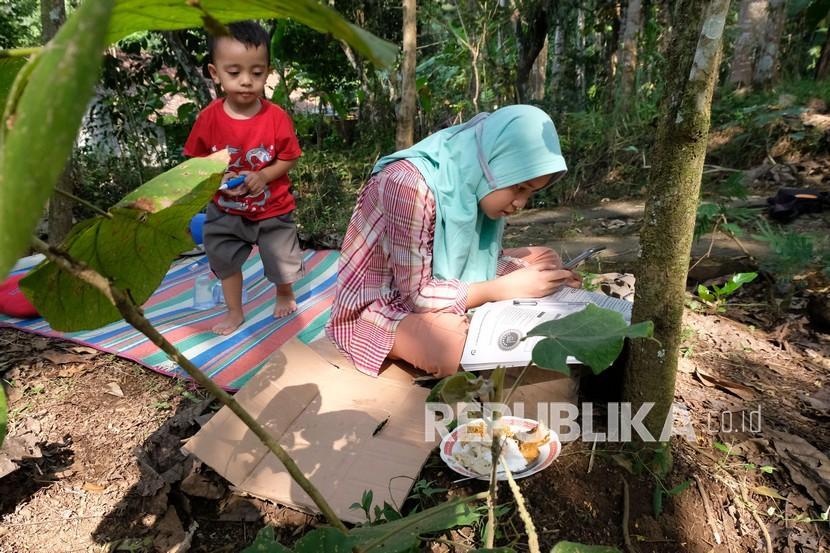 Pelajar kelas 6 SD Nadhifa Muazara terpaksa mengerjakan tugas sekolah secara daring di perkebunan karena kesulitan sinyal internet di lereng perbukitan Menoreh Dusun Pandansari, Kalisalak, Salaman, Magelang, Jawa Tengah, Sabtu (18/9/2021). Kominfo menyatakan daerah di Indonesia yang belum terakses internet jumlahnya mencapai 12.548 desa dan kelurahan teridiri dari wilayah yang berada di Terdepan, Terluar, dan Tertinggal (3T) sebanyak 9.113 desa dan kelurahan sedangkan yang non-3T ada 3.435 desa dan kelurahan.