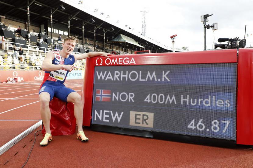 Pelari Norwegia, Karsten Warholm nyaris memecahkan rekor dunia lari gawang 400 m.