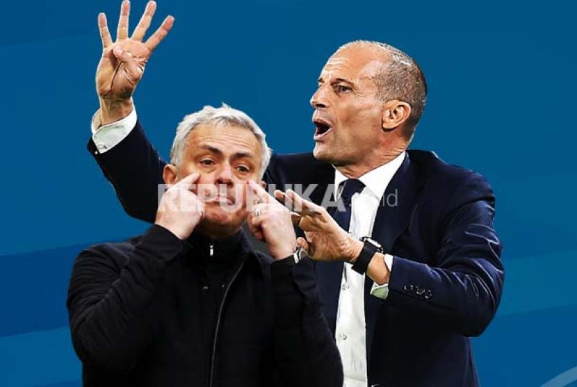 Pelatih AS Roma Jose Mourinho (kiri) dan pelatih Juventus Massimiliano Allegri.