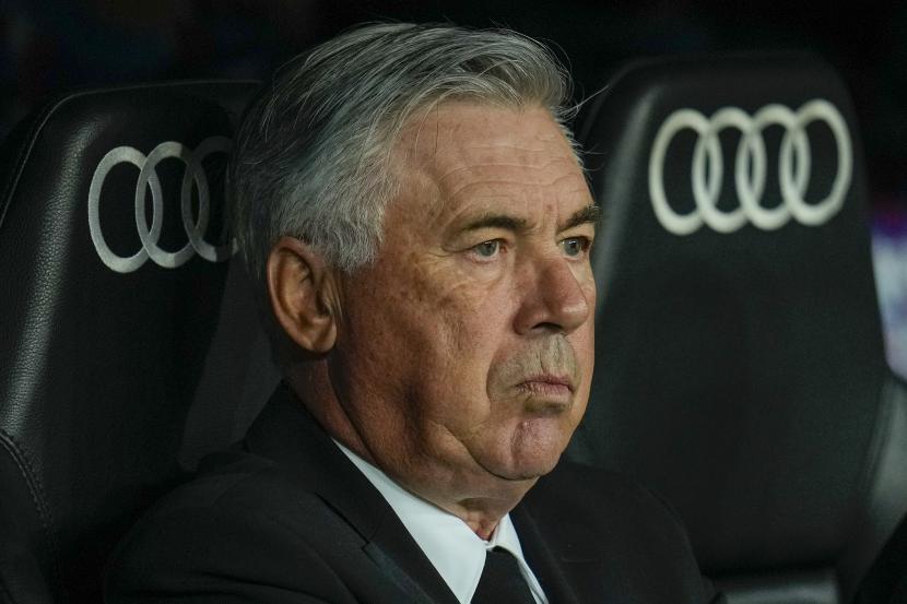Pelatih kepala Real Madrid Carlo Ancelotti jelang pertandingan sepak bola La Liga Spanyol antara Real Madrid melawan Mallorca di stadion Bernabeu di Madrid, Spanyol, Rabu, 22 September 2021.
