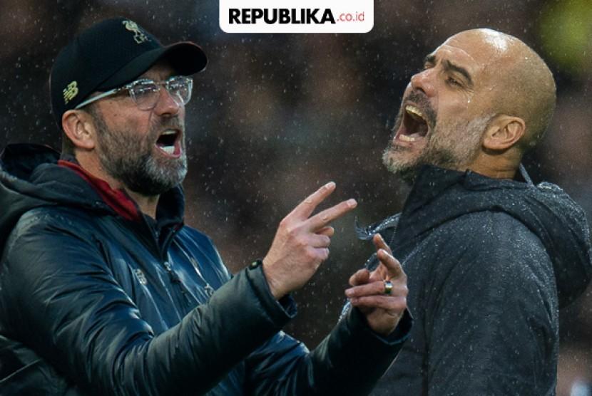 Pelatih Manchester City Pep Guardiola dan pelatih Liverpool Juergen Klopp