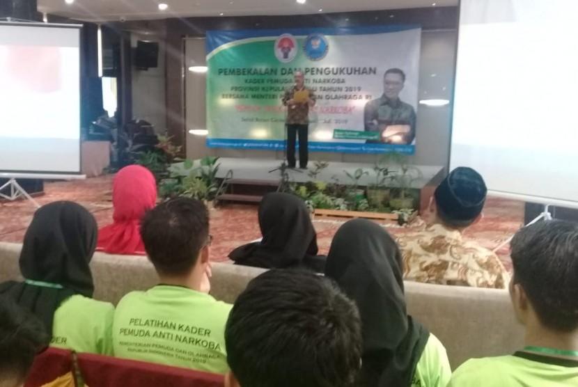 Pelatiha kader anti narkoba di Hotel Sahid Batam, Sabtu (20/7).
