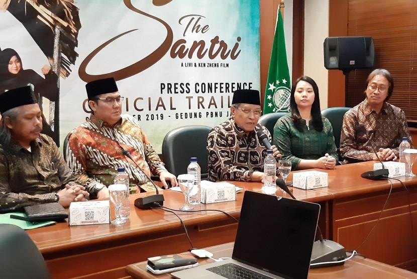 Peluncuran trailer film The Santri oleh Ketua PBNU KH Said Aqil Siroj dihadiri sutradara Livi Zheng di Jakarta, Senin.