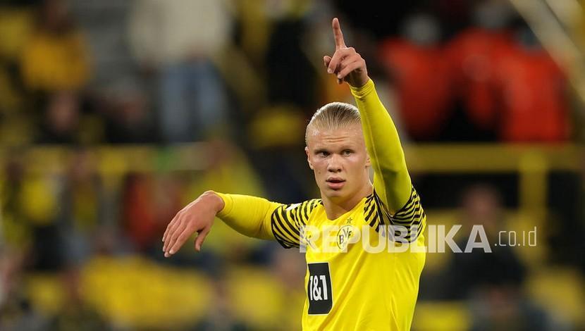 Pemain Borussia Dortmund Erling Haaland