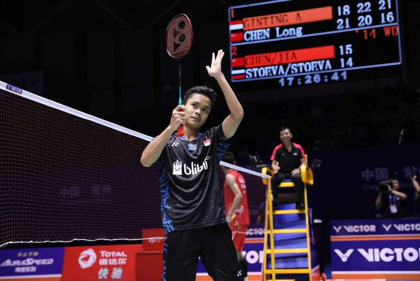 Pemain Indonesia, Anthony Sinisuka Ginting mampu mengalahkan pemain Cina, Chen Long di perempat final China Open 2018, Jumat (21/9).
