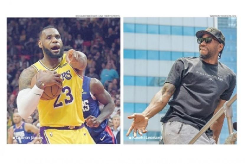 Pemain Lakers, LeBron James (kiri) dan pemain Clippers, Kawhi Leonard (kanan).