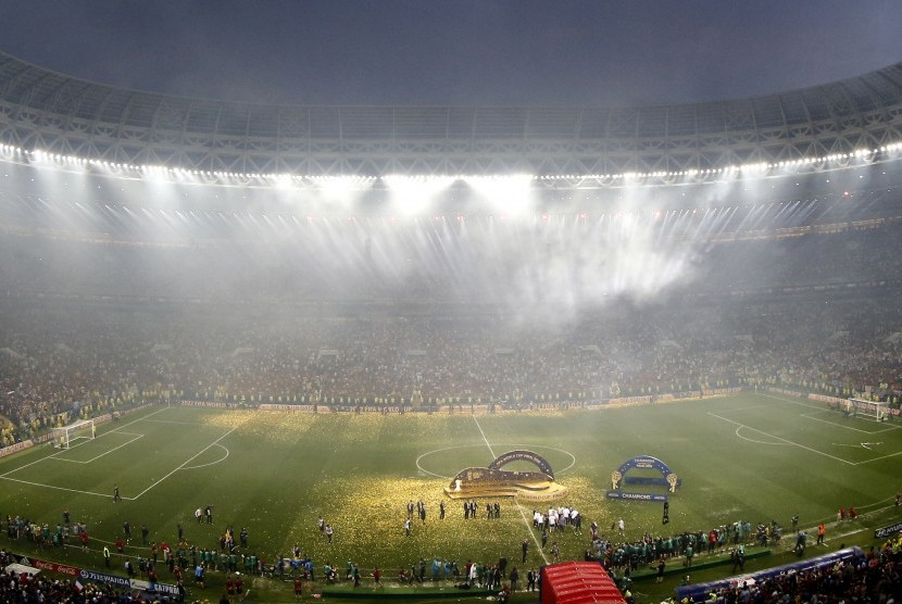 [Ilustrasi] Pemain Prancis merayakan keberhasilan menjuarai Piala Dunia 2018.