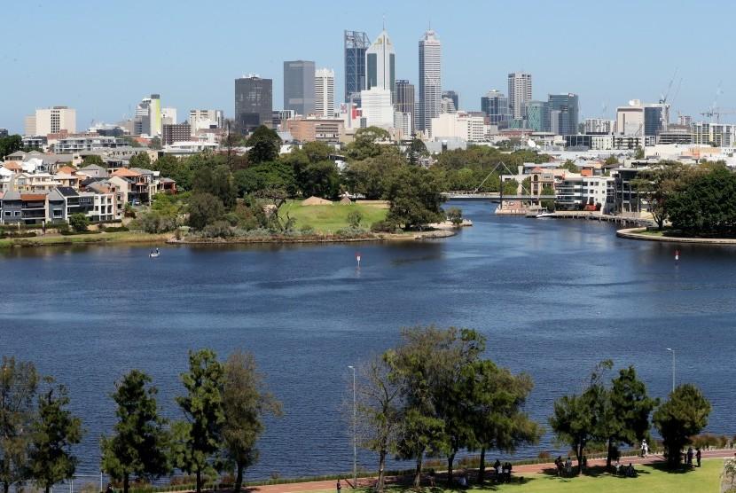 Pemandangan di Swan River, salah satu sudut populer Kota Perth di Australia Barat.