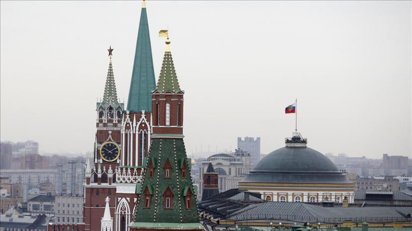 Pemandangan Kremlin, Lapangan Merah dan Museum Sejarah Negara Moskow, di Moskow, Rusia.