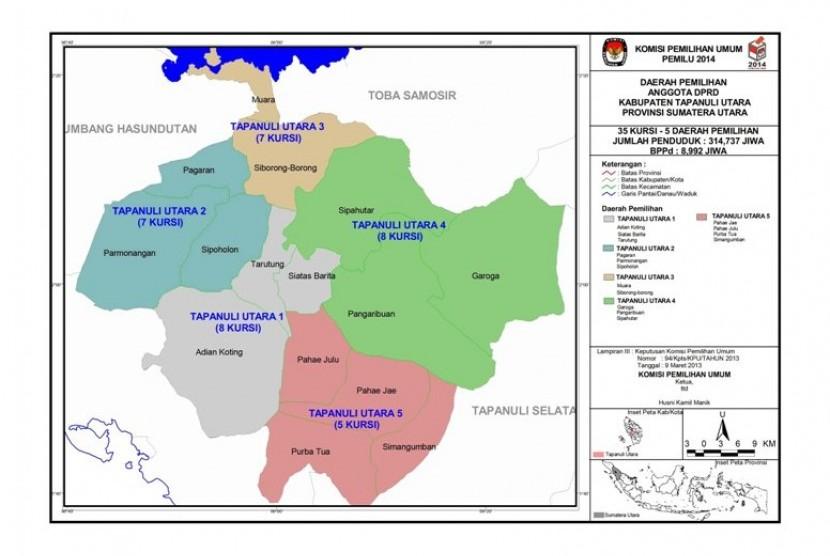 Pembagian Dapil di Kabupaten Tapanuli Utara, Sumatra Utara.