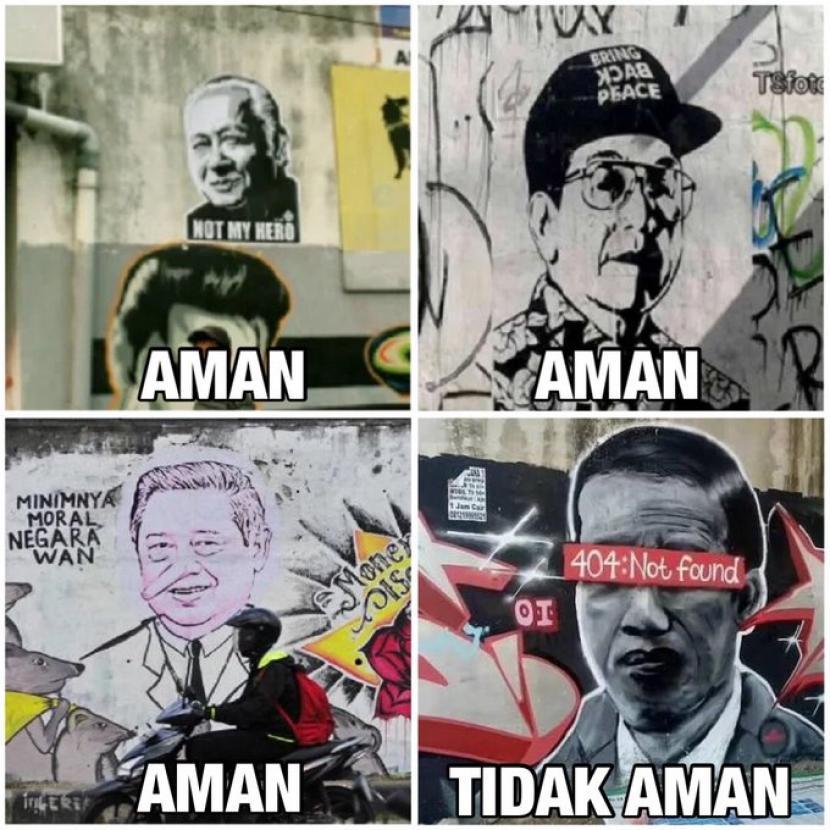 Pembuat mural 404: Not Found di Kota Tangerang, Banten, diburu polisi dan pembuat sablon 404: Not Found di Kabupaten Tuban, Jawa Timur, didatangi polisi untuk diamankan.