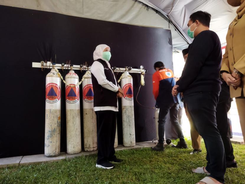 Pemerintah Provinsi (Pemprov) Jatim meresmikan stasiun pengisian oksigen gratis di Bakorwil Malang, Senin (26/7).