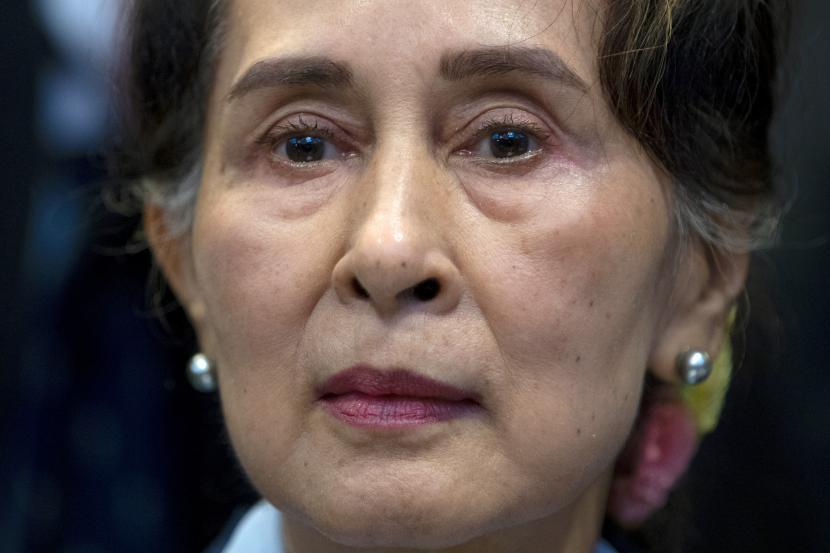Pemimpin Myanmar Aung San Suu Kyi.