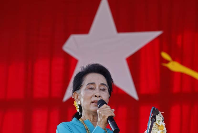 Pemimpin oposisi Myanmar, Aung San Suu Kyi.
