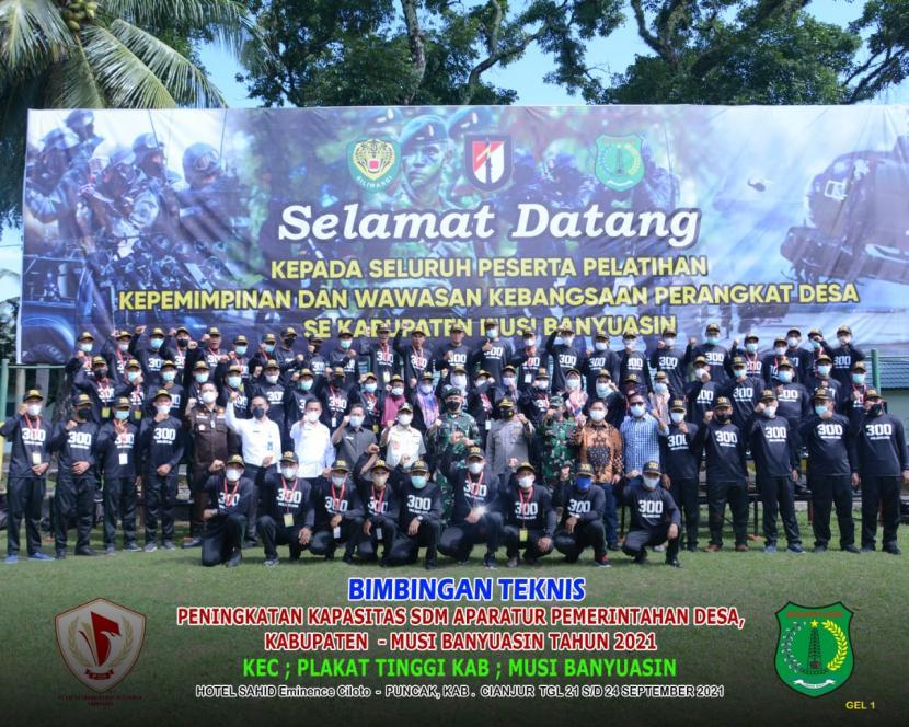 Pemkab Muba kali ini, yang mengikutsertakan perangkat desa pada bimbingan teknis teta kelola pemerintahan desa di Batalyon Infantri Raider 300, Kabupaten Cianjur Provinsi Jawa Barat, Rabu (22/9).