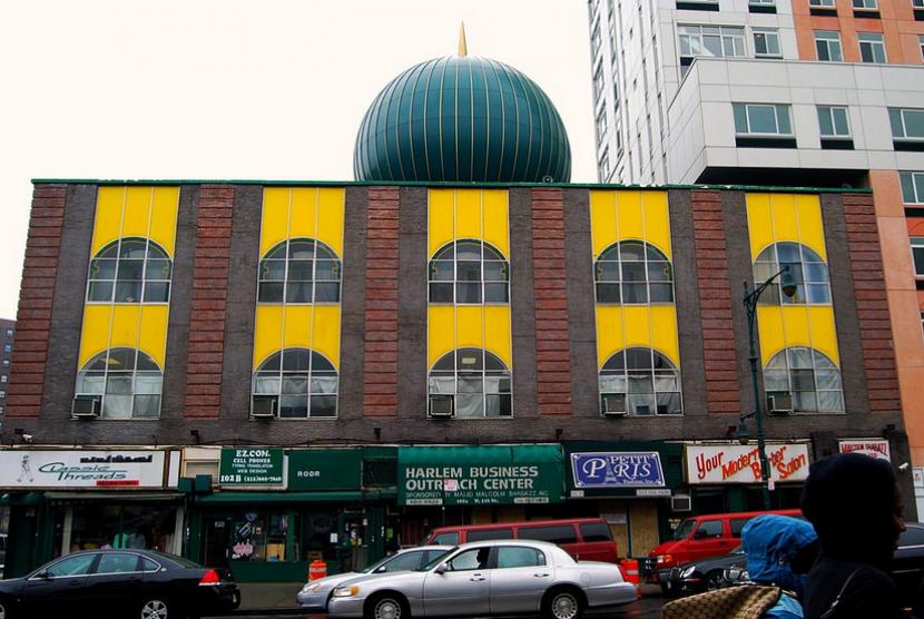 Penampakan Masjid Malcolm Shabazz di Harlem, New York City, AS