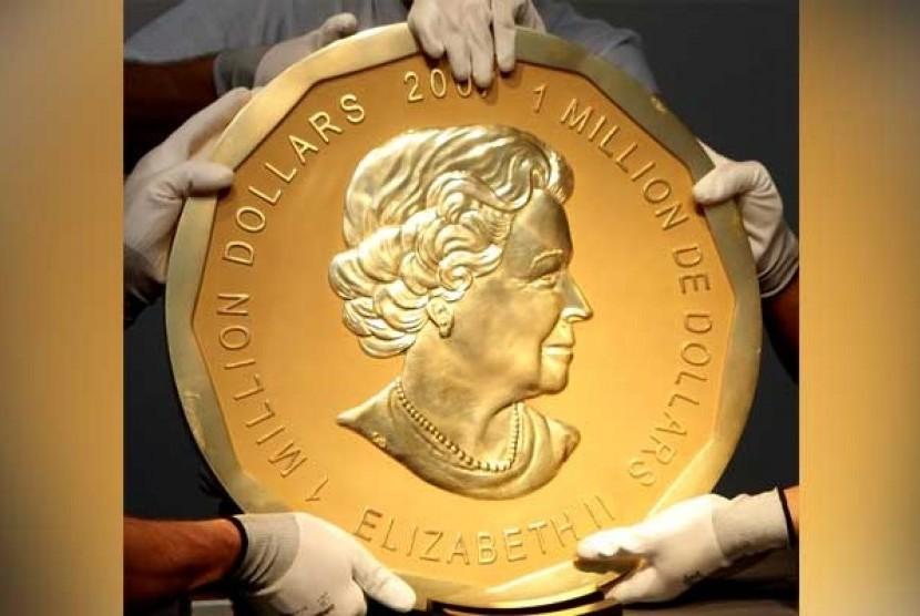 Penampilan koin emas Big Maple Leaf yang dicuri dari Museum Bode di Berlin, Jerman pada Senin (27/3) dinihari waktu Jerman.