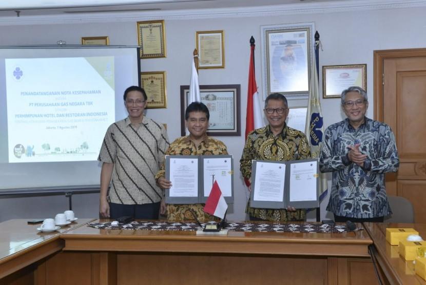 Penandatanganan MoU dilakukan oleh Direktur Strategi Pengembangan Bisnis PGN Syahrial Mukhtar dan Ketua Umum PHRI Hariyadi Budi Santoso Sukamdani serta disaksikan oleh Direktur Utama PGN, manajemen PGN dan perwakilan PHRI di Hotel  Grand Sahid Jaya Jakarta.
