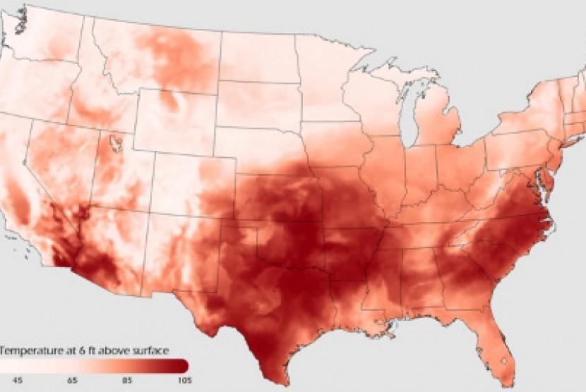 Pencitraan gelombang panas di AS oleh satelit