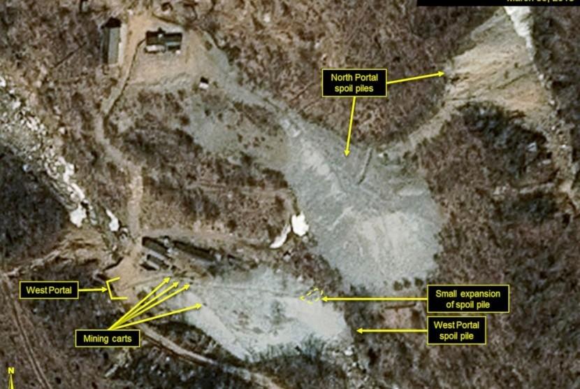 (Ilustrasi) Pencitraan satelit yang dirilis pada 30 Maret 2018 yang menunjukkan lokasi uji coba nuklir Punggye-ri, Korea Utara