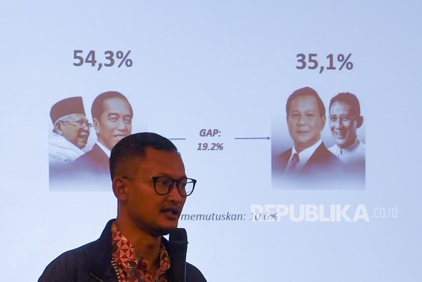 Pendiri Alvara Research Center Hasanuddin Ali menyampaikan paparan hasil survei terkait Pilpres 2019 di Jakarta, Jumat (11/1/2019).