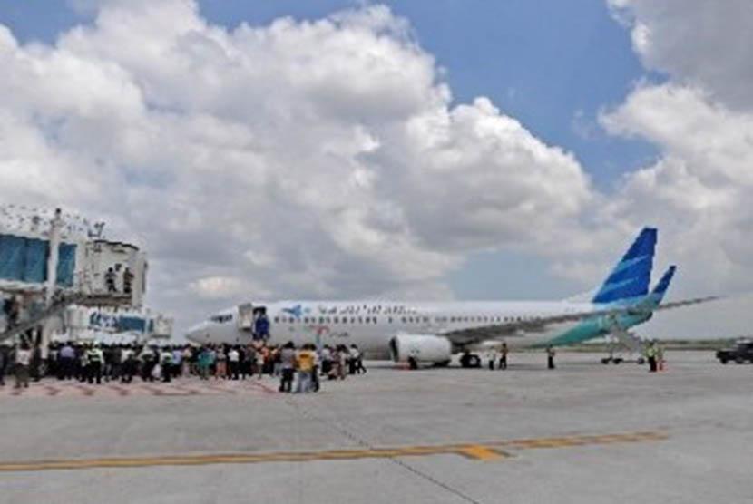 Sebuah pesawat milik maskapai penerbangan Garuda Indonesia