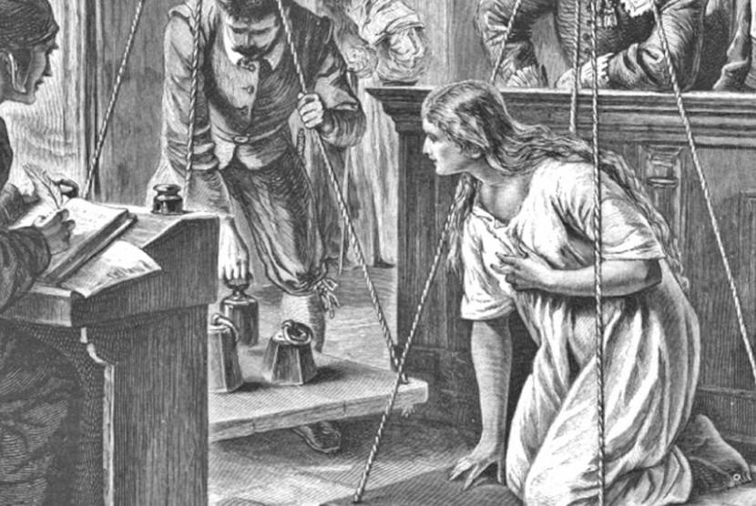 Pengadilan perempuan yang dituduh tukang sihir di abad pertengahan.