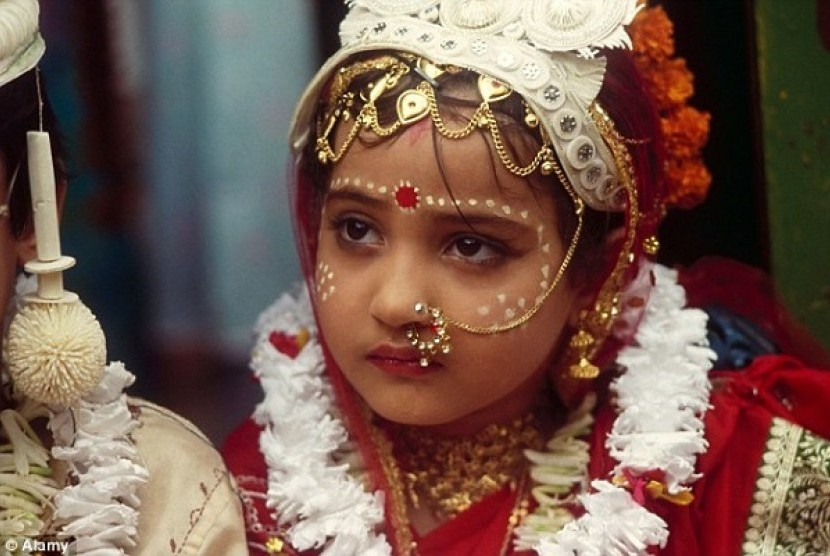 Little girl in India trapped in marriage. (Illustration)