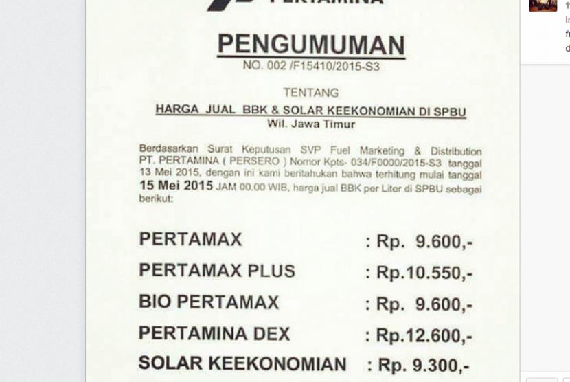 Pengumuman Pertamina tentang kenaikan harga BBM per 15 Mei 2015 pukul 00.00.
