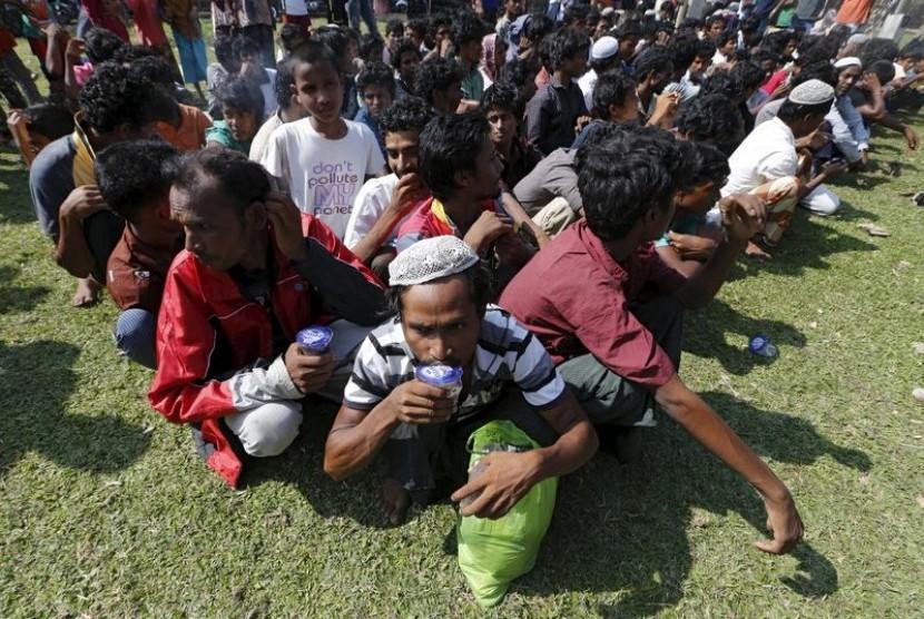 Pengungsi etnis Rohingya di Aceh.